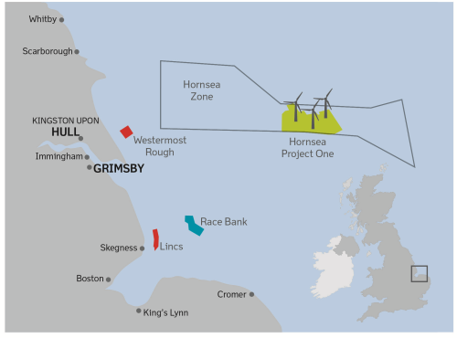 the hornsea wind farm will be the worlds first offshore wind farm to exceed 1000 mw in capacity image courtesy of dong energy